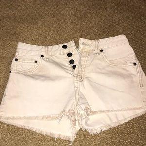 Free people beige jean shorts
